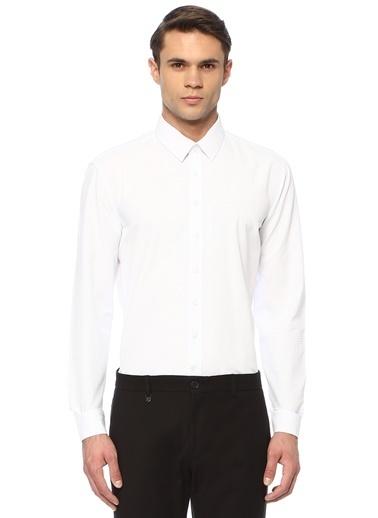 George Hogg George Hogg Balenli Yaka Uzun Kollu Slim Fit Armürlü Erkek Gömlek Beyaz